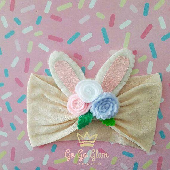 Baby girl headband baby turban Bunny ears bunny ears
