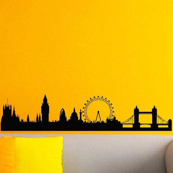 Vinyl Wall Decals London Skyline City Silhouette Sticker Home Etsy In 2020 City Silhouette London Skyline Vinyl Wall Decals