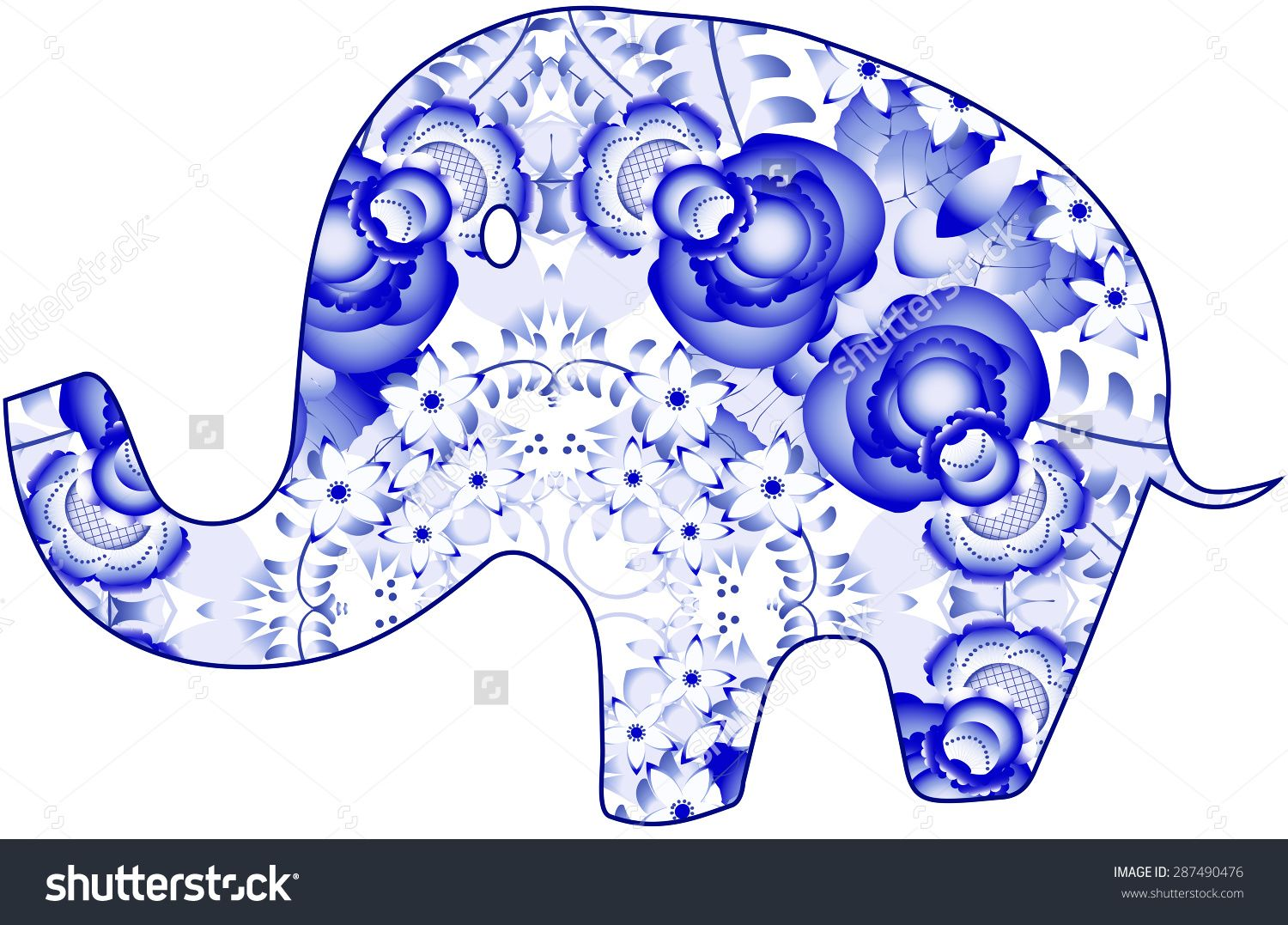 Gzhel folk elephants