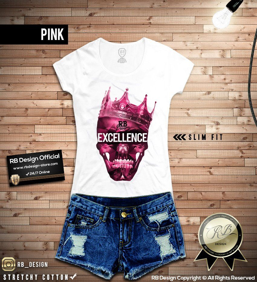 Ladies RB Design Skull T-shirt Excellence Wording Tank Top COLOR OPTION WD276