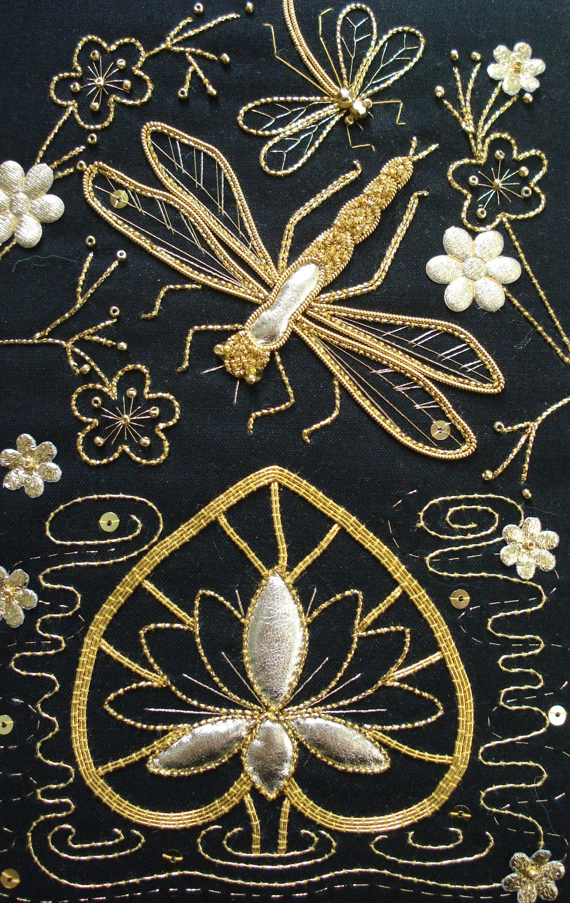 goldwork   Dragonfly-Libelulas   Pinterest   Bordado, Libélulas y Oro