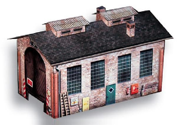 Free Scale Paper House Papermau: PAPERMAU: German Engine Shed Paper Model In HO Scale