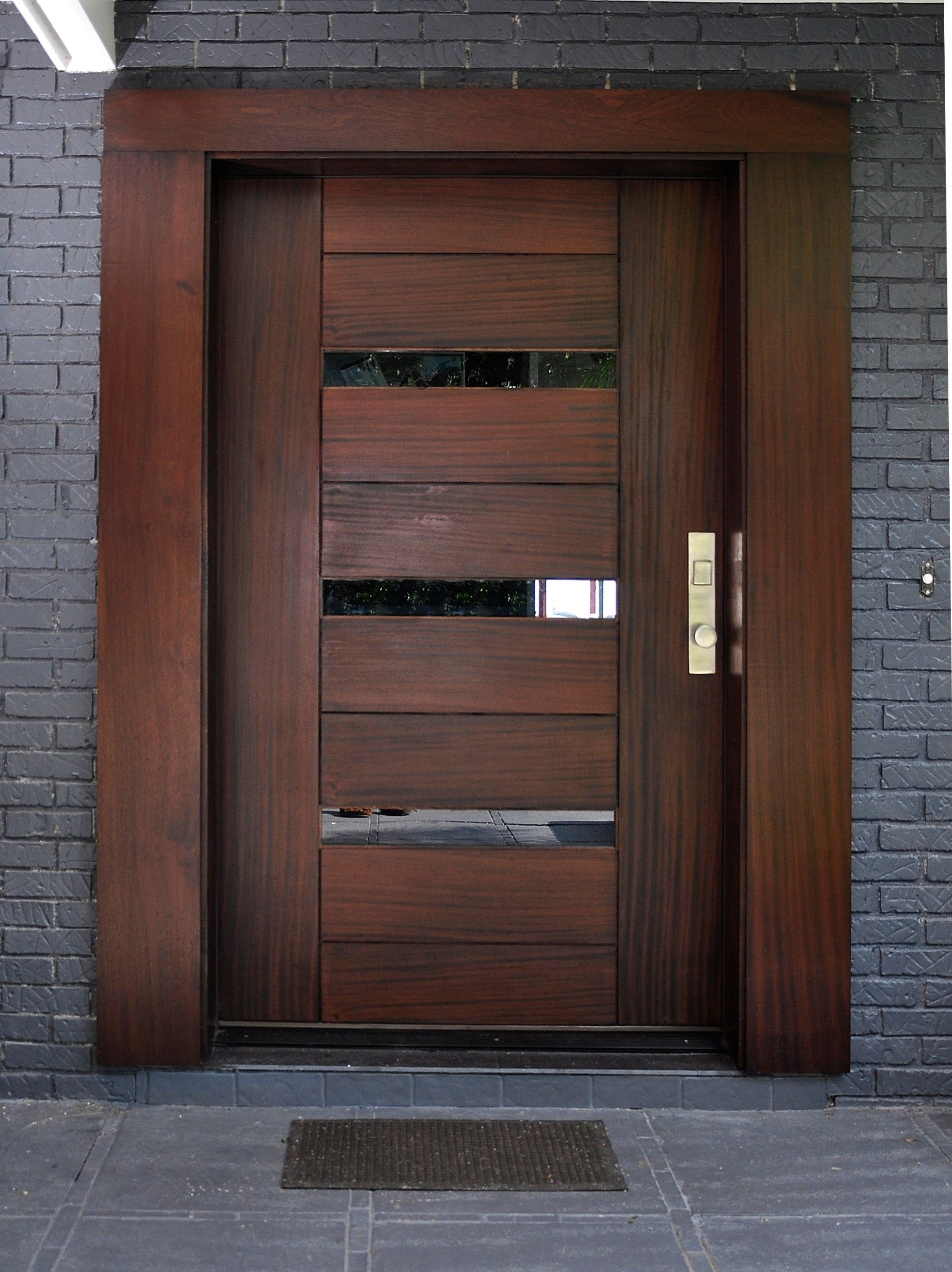 Beautiful modern front door update dark cherry wood with stainless