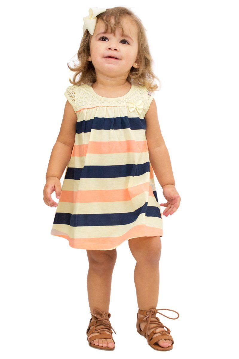 Lace dress for baby girl  Pulla Bulla Baby Girl Infants Striped Lace Dress  Months Orange