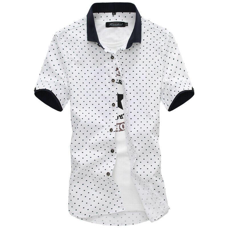 Turn Down Down Collar Short Sleeve Printed Pattern Casual Wear Shirt For Men