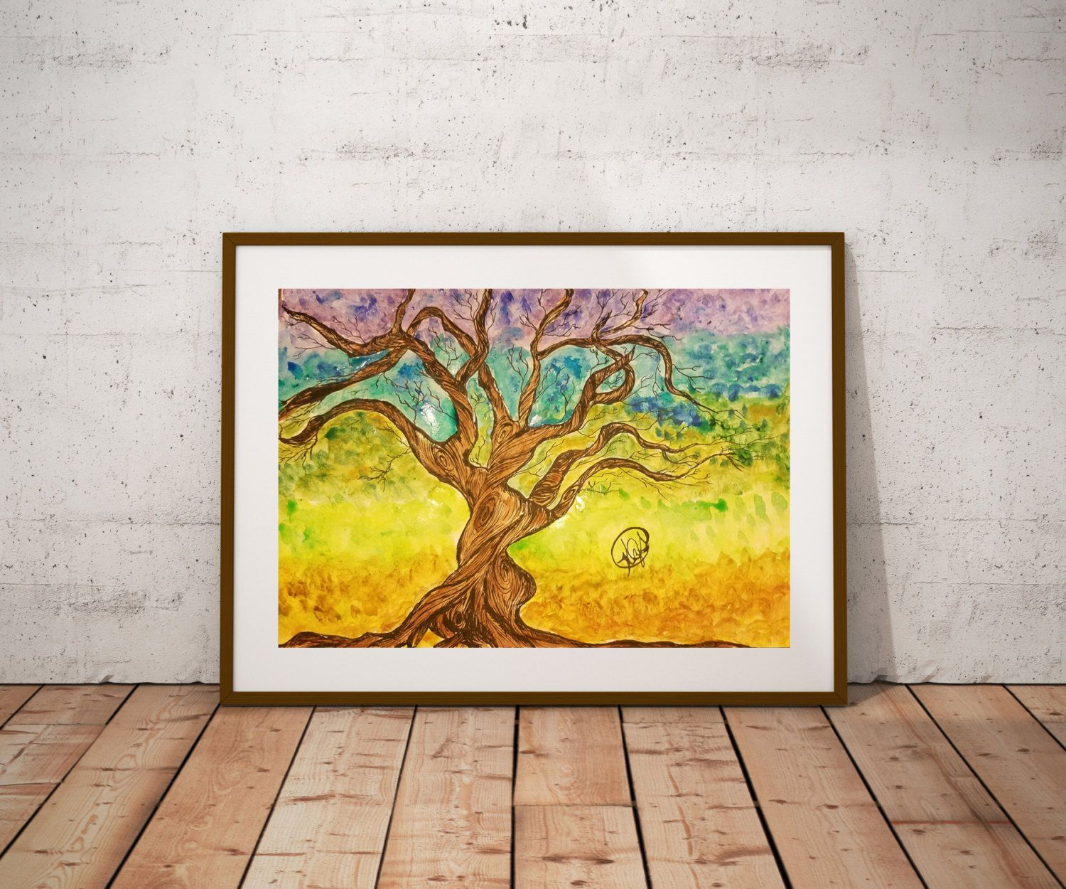 Matte Poster Water Color Painting \'Transition\' Tree, Home Decor Wall ...