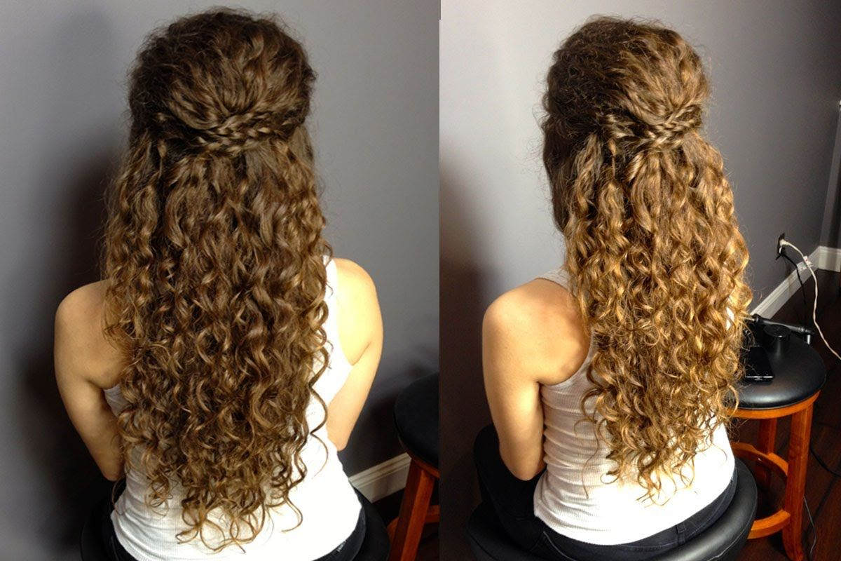 Half Up Half Down Updo For Naturally Curly Hair Easy Braided