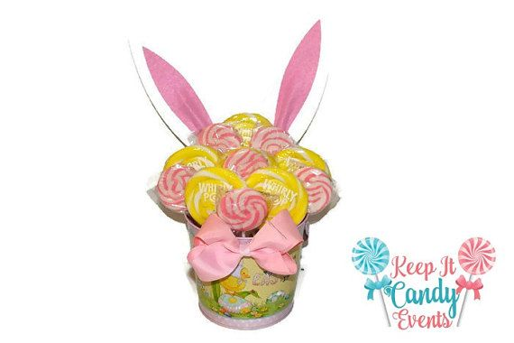 Pink and Yellow Easter Bunny Lollipop Arrangement by KeepItCandy