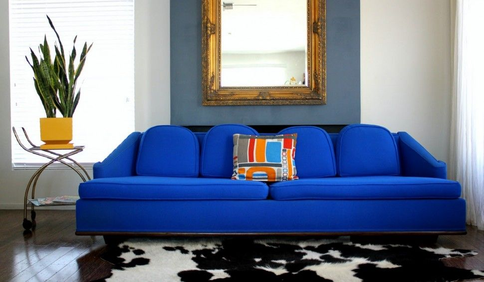Furniture Bright Blue Couch Leather Sofa With Decorative Mirrored Furniture For Modern Living Room With Animal Print Ru Leather Sofa Blue Sofa Design Blue Sofa