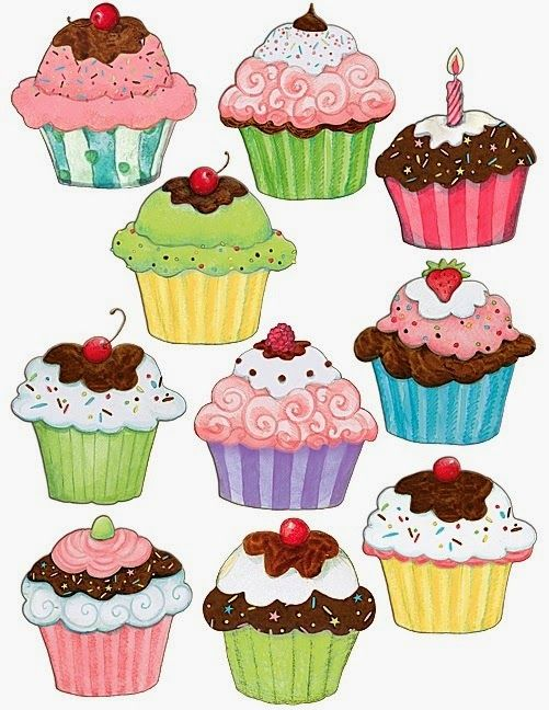 Dekupaj Kagitlari Cupcake Illustration Decoupage Cupcake