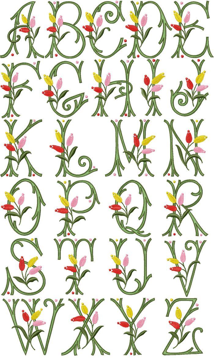 Alfabeto con tulipanes bordados en una sola imagen.   Letters-Fonts ...