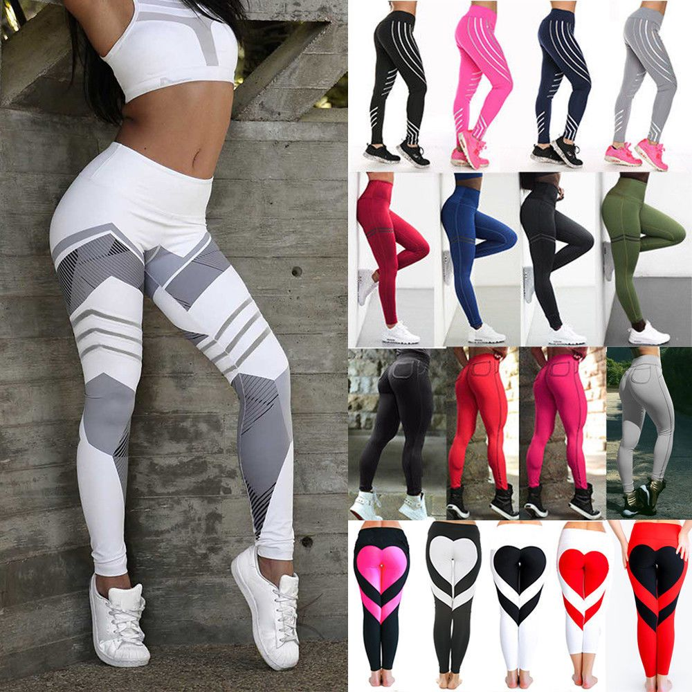 NEW Womens Workout Leggings Sports Yoga Gym Fitness Pants Athletic Clothes X43