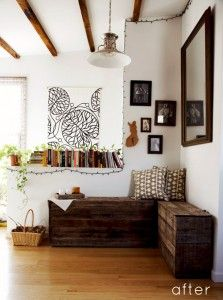 This is such a beutiful corner nook made from refurbished pallets. I found on designsponge.com; http://www.designsponge.com/2011/06/before-after-pallet-bench-and-serving-tray.html/marianna_after