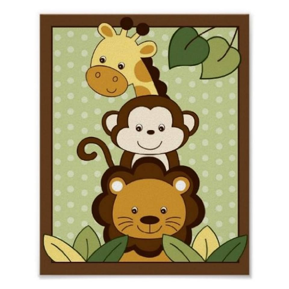 Safari Jungle Animal Nursery Wall Art Print 8X10 | Plastic canvas ...