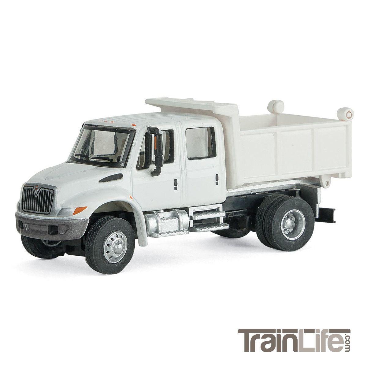 HO Scale: International(R) 4300 Crew Cab Dump Truck - White w/ MOW Decals