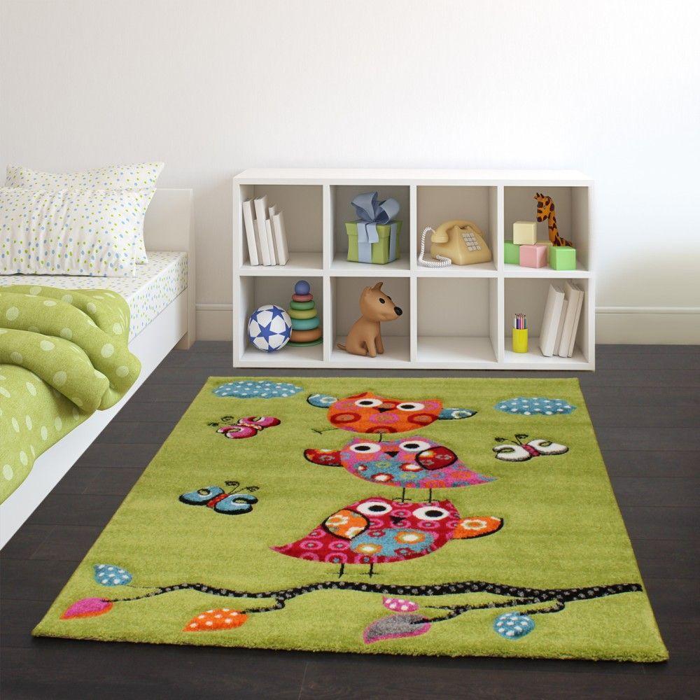 Niedliche Eulen Grün Kinderzimmer teppich mädchen