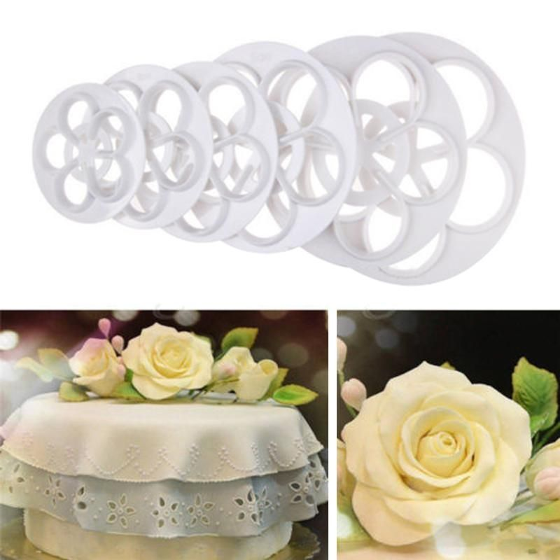 Cheap Dessert Decorators Buy Directly From China Suppliers 6 Pcs Set Plastic Rose Flower Fondant Cake Mol Rose Mold Cake Cake Decorating Moulds Flower Cookies