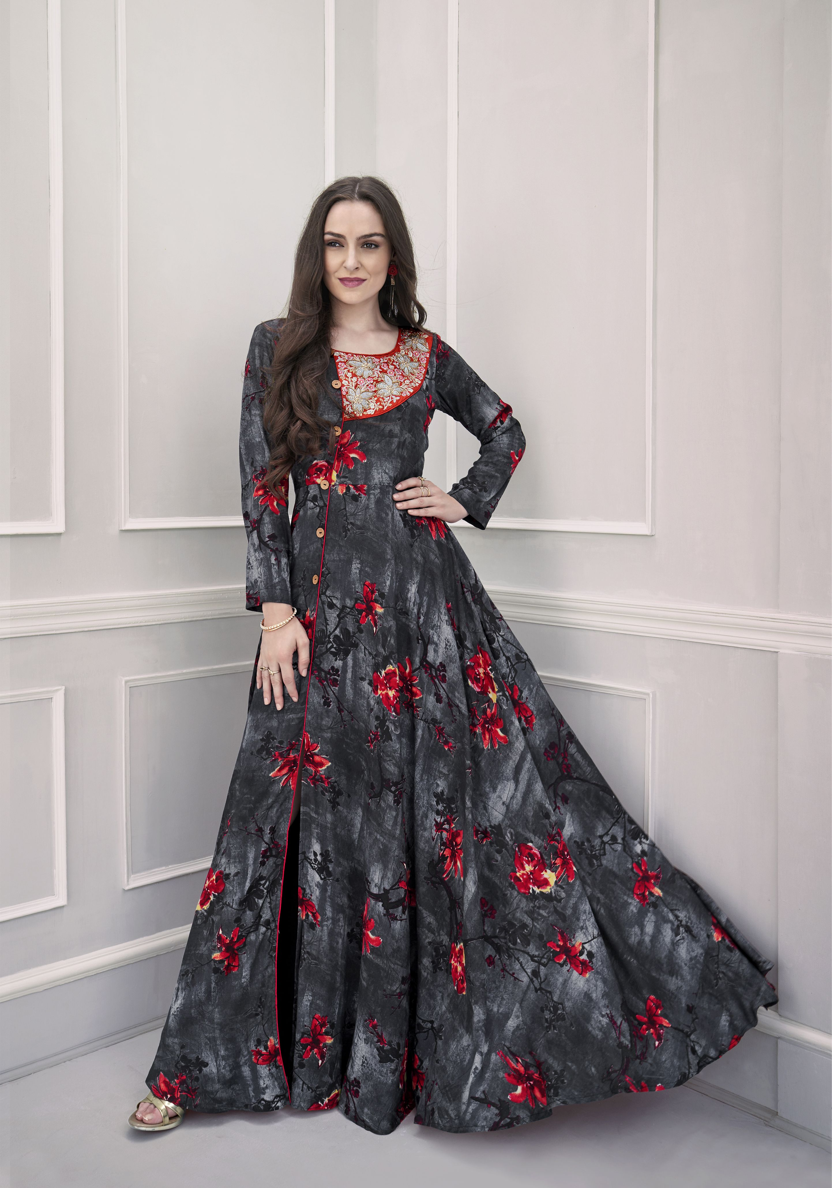 cf48d46586 Shop Heavy embroidery with handwork black rayon printed long maxi dress  Online - VOGUE AND YOU