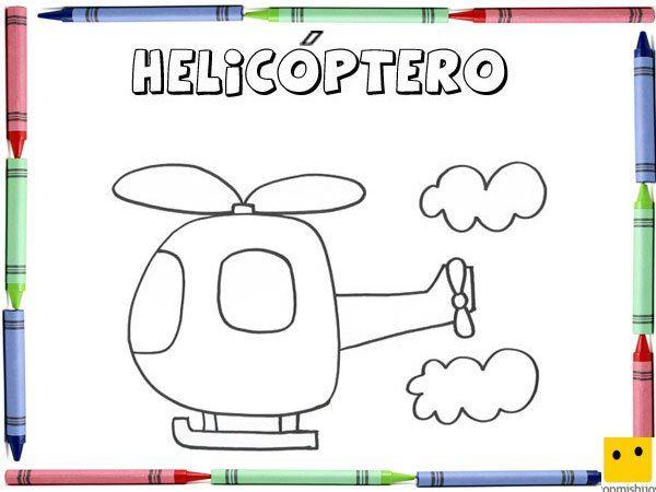 Dibujo para colorear con los niños de un helicóptero | transportes ...