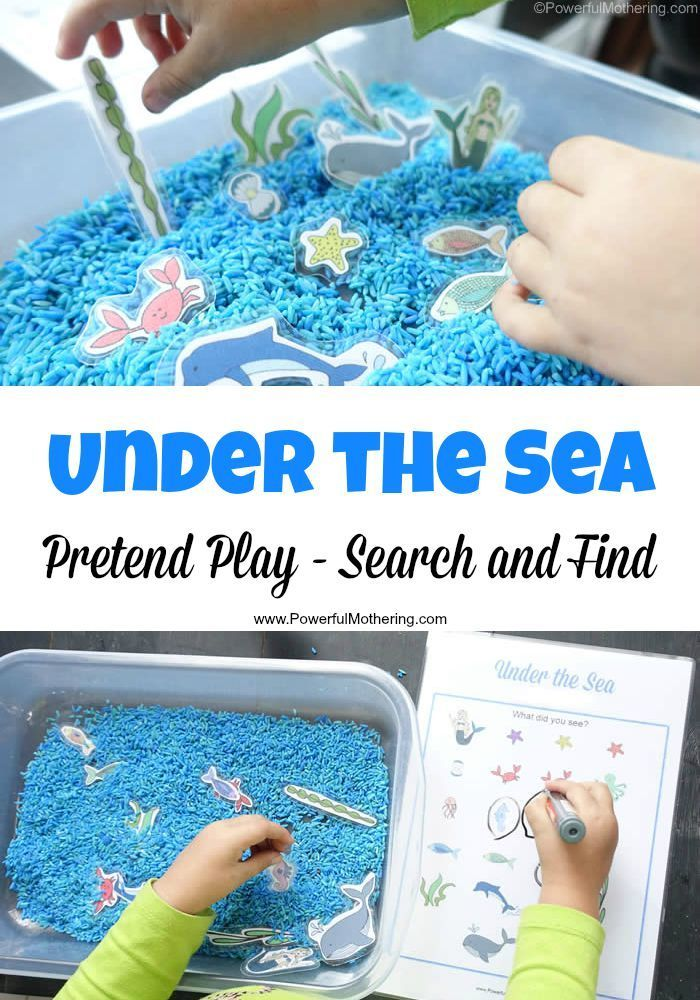 under the sea theme for toddlers and preschoolers! Search and find the sea creatures or simply play with them in the sensory rice tub!