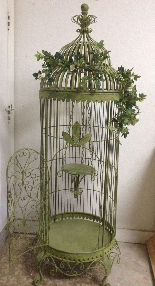 Large Antique Bird Cage Birdcage Design Ideas Love This Birdcage But Not The Fake Leaves Wrapped Aroun Bird Cage Decor Antique Bird Cages Vintage Bird Cage