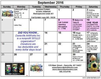 Events for September! Sign up to secure your spot in one of these great workshops!