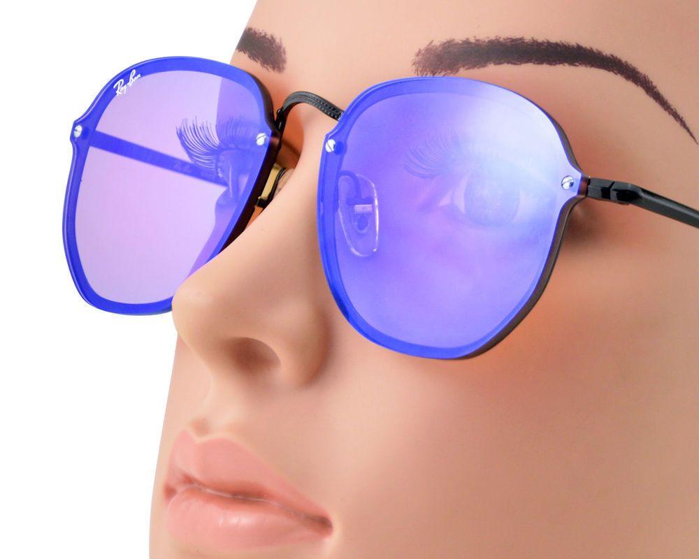 ed12adc0dc Ray-Ban RB3579N Blaze Hexagonal 153 7V Black Frame Violet Blue Mirror  Lenses58mm