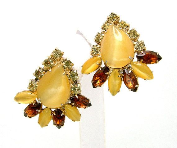 Caramel Cat S Eye Ring Diamontrigue Jewelry: Vintage Earrings Butterscotch Moonglow By