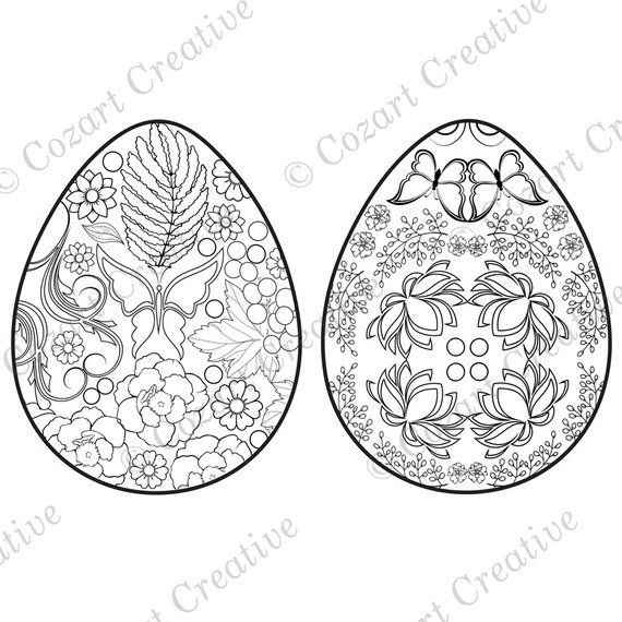 Easter Egg Coloring Fun Two Easter Designs With Butterflies Etsy Coloring Easter Eggs Coloring Eggs Easter Design