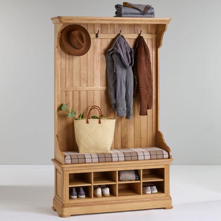 Oak Furnitureland Hallway Coat Storage, Oak Hallway Bench And Coat Rack