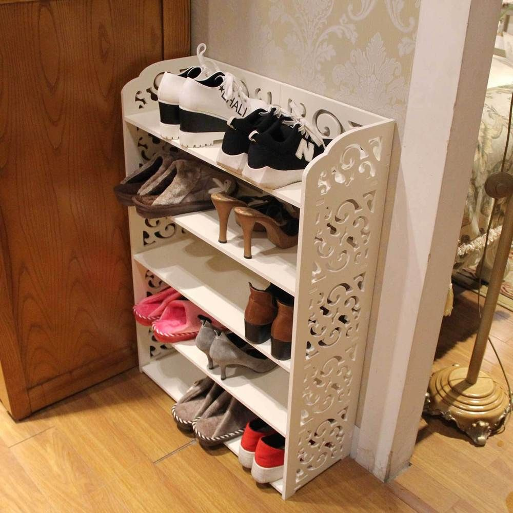 furniture for shoes. White Carved 5 Tier Shoe Cabinet Storage Rack Organiser Shelf Unit Hallway In Home, Furniture \u0026 DIY, Solutions, | EBay For Shoes C