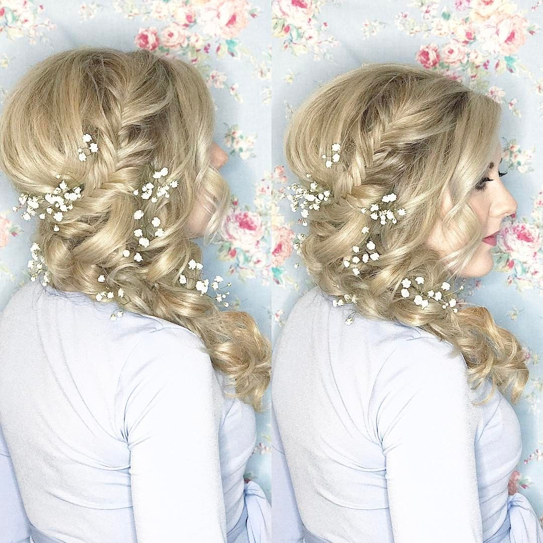 sideswept bridal hair fishtail braid maternity shoot