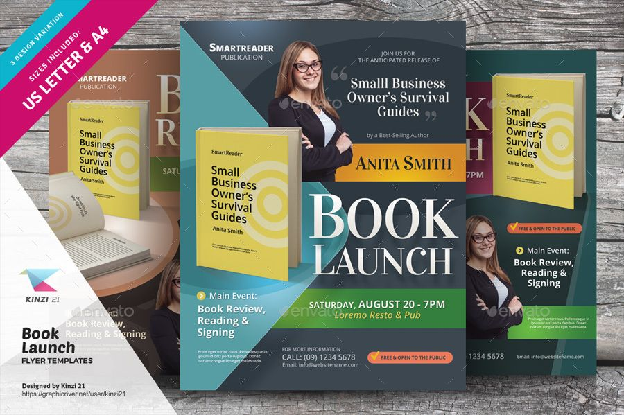 Pin By The Best From Stocks On Graphic Design Print Flyer Templates Book Launch Flyer Template