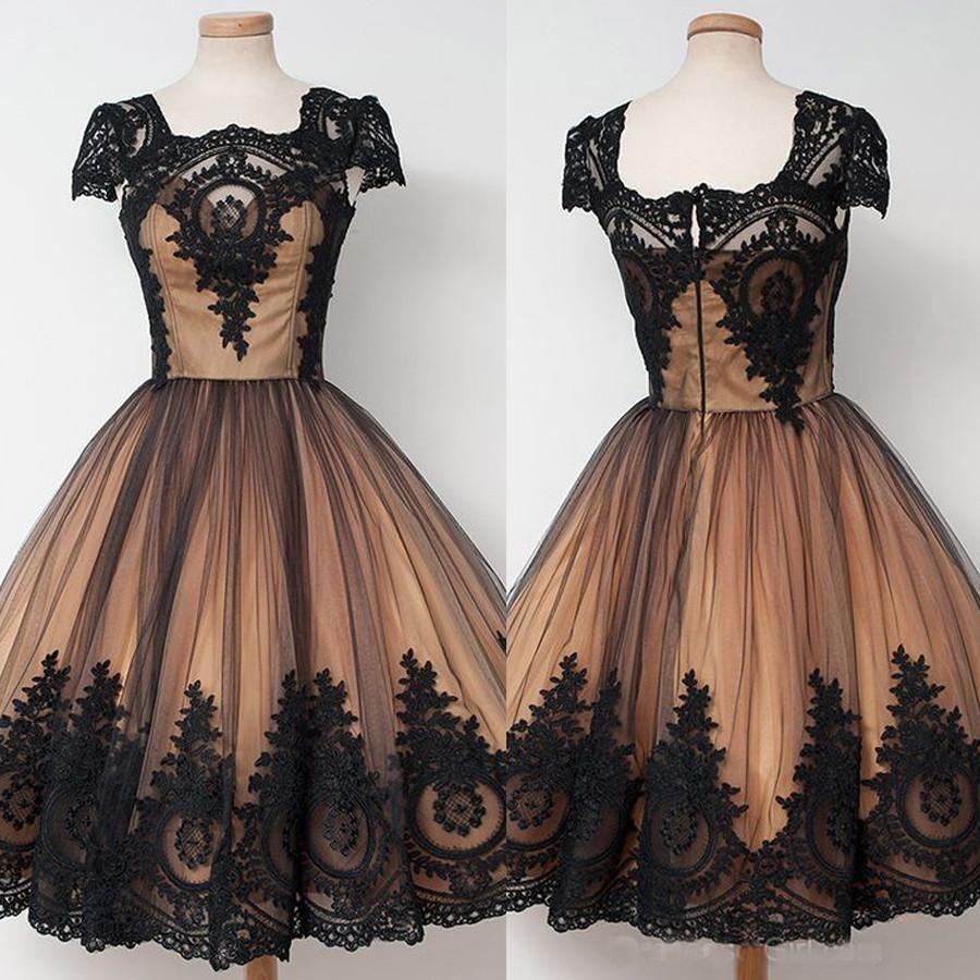 Black lace appliqued cap sleeves vintage homecoming dressesshort