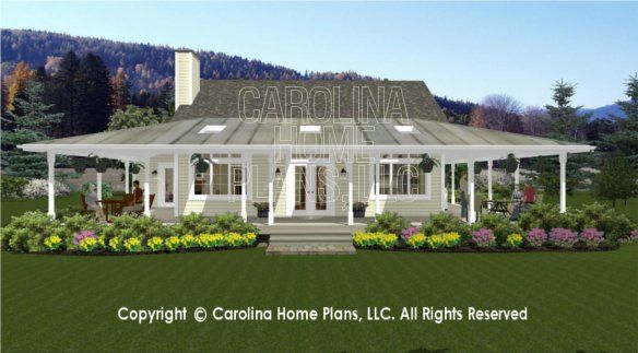 Sg 1280 3d Back View Porch House Plans 3d House Plans Country House Plans