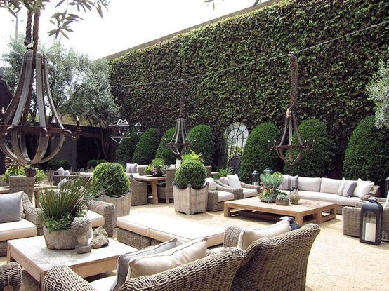 Remarkable exterior plant design at restoration hardware for Restoration hardware outdoor dining