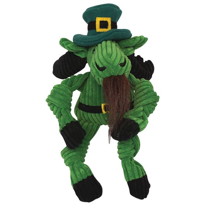 Leprechaun Moose Dog Toy Small Knotties Are The Perfect Toy For Your Pet Pooch Made Of Soft Plush Corduroy Fabric On The Ou Dog Toys Soft Plush Your Pet