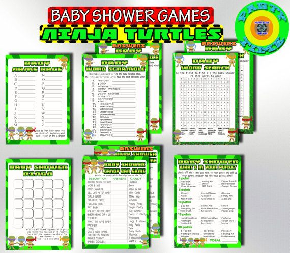 Baby Shower Games Turtles Set Printable By PartyTimeDigital