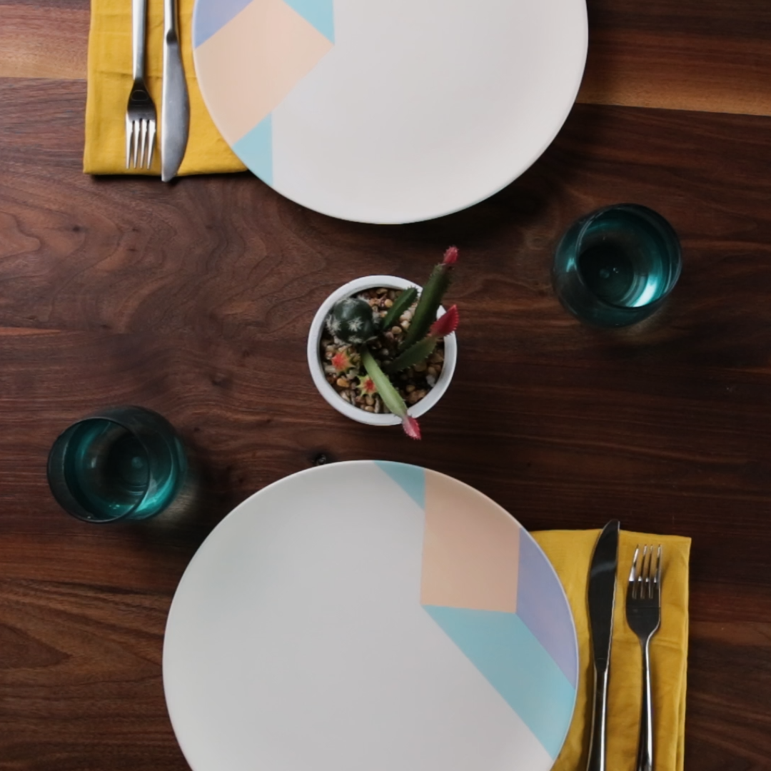 How to Use a Tape Technique for Perfectly Painted Geometric Plates #5minutecraftsvideos