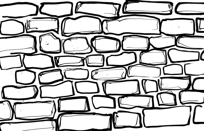 brick wall drawing 670—430 Ideas for the House