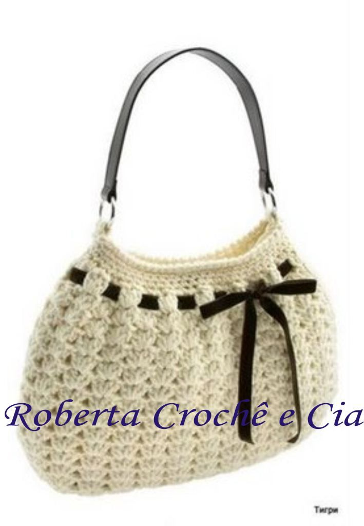Crochet purse with ribbon accent | Free instructions in Portuguese ...