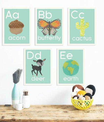 Amazon.com : English Alphabet 5x7 Wall Cards, Our World, Nature Themed, Kid's…