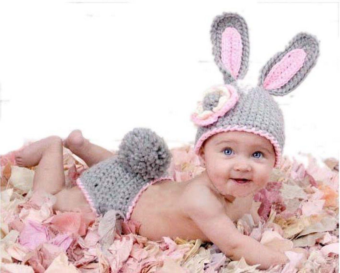 Eozy Conejo Gris Bebé Niño Niña Algodón Aminal Beanie Sombreros Ropa ...