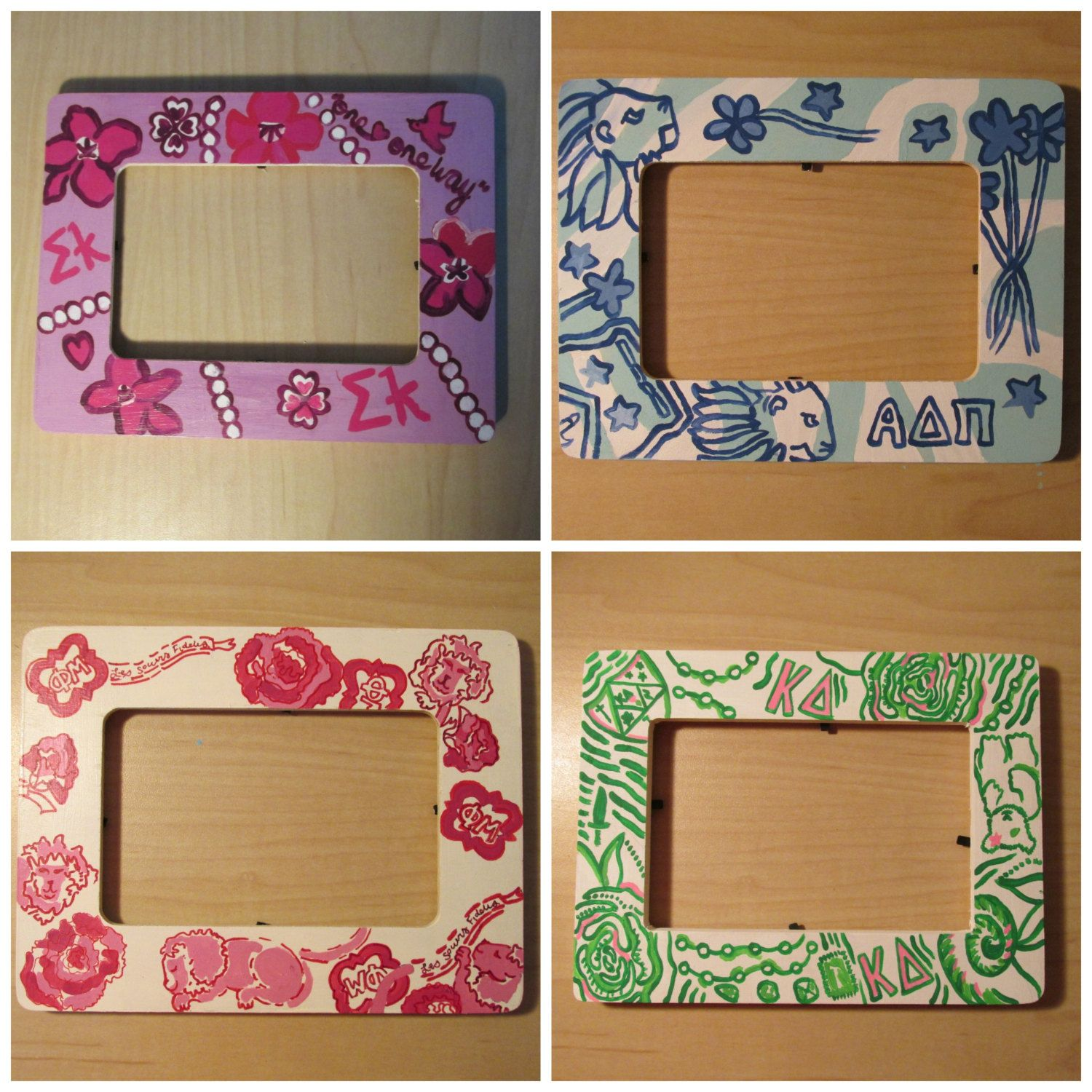 Lilly Pulitzer-Inspired Sorority Print Hand-Painted Picture Frame 4 ...