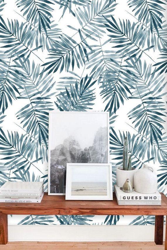 Palm Leaf Wallpaper Wall Mural Removable Wallpaper Peel Etsy Leaf Wallpaper Wall Wallpaper Palm Leaf Wallpaper