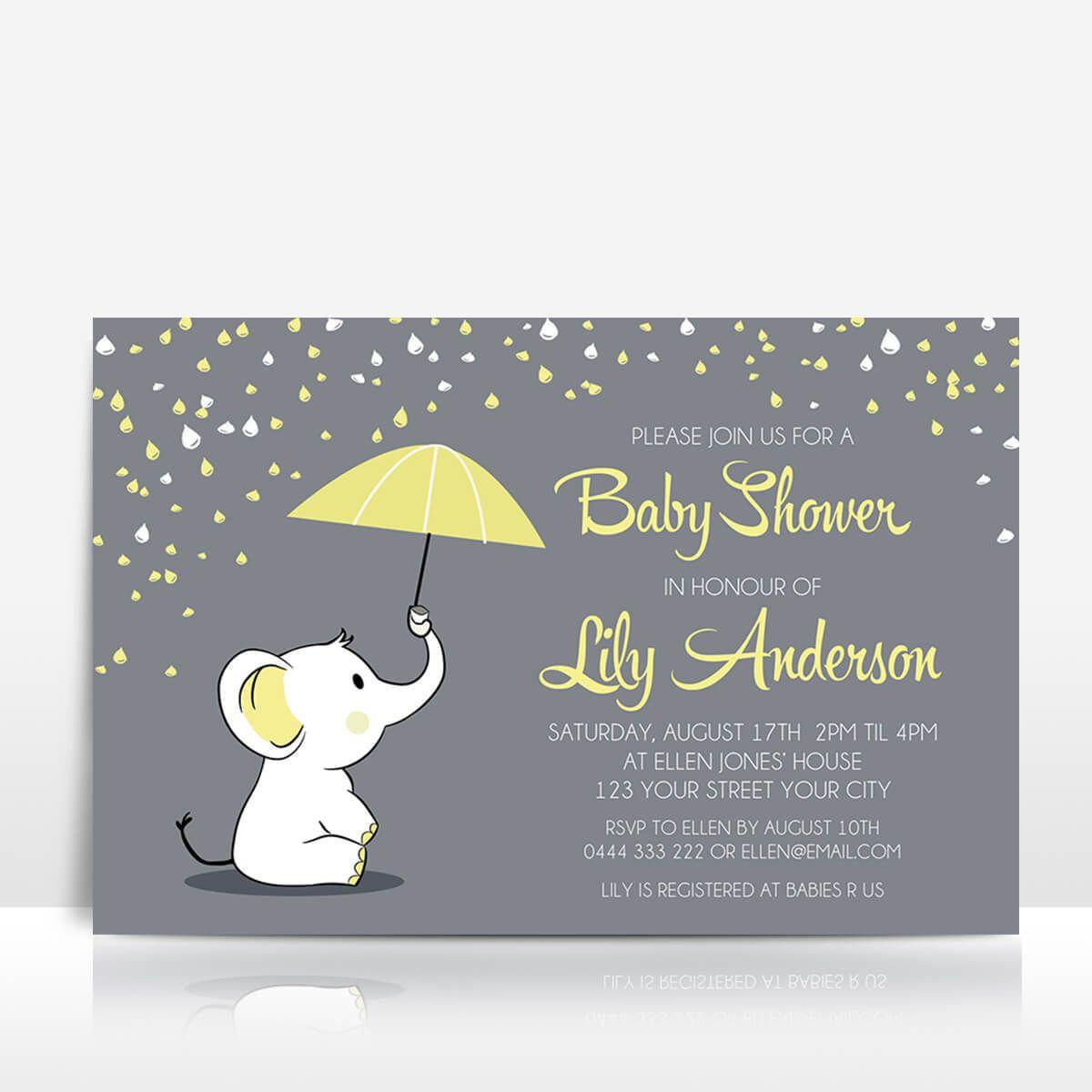 Elephant baby shower invitation yellow on grey with umbrella ...