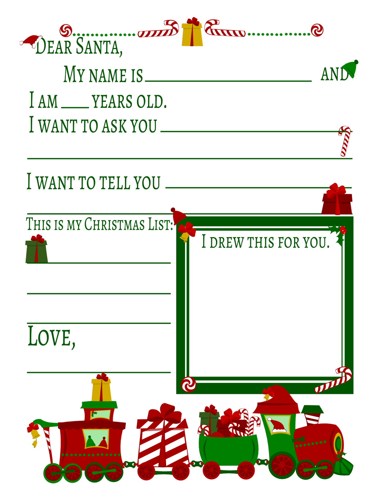 Letter to Santa Printable Gift Idea Place this letter