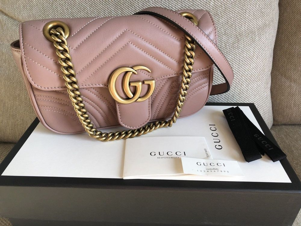 Gucci GG Marmont Camera Shoulder Bag Quilted Mini Hibiscus