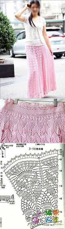 Юбка крючком розовая схема