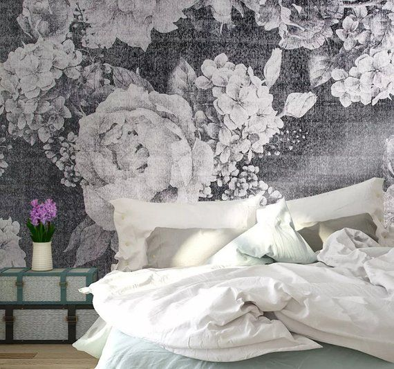 3D Vintage, White Rose Self Adhesive Removable Wallpaper